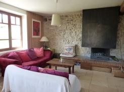 Salon avec cheminée- gîte vercors